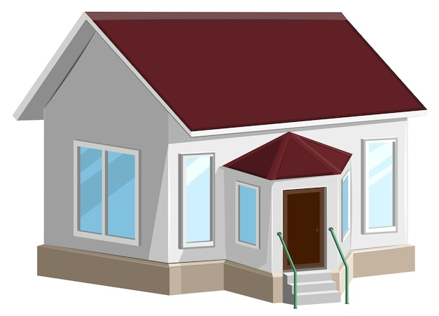 Casa de pedra branca com janela saliente. isolado no branco