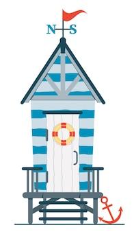 Casa de praia. cabana na costa.