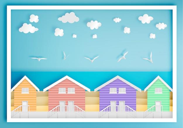 Casa de praia com estilo de arte de papel de quadro de fundo de oceano