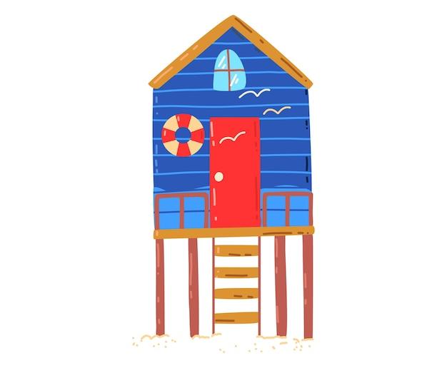 Casa de praia tropical, férias de verão quentes e ativas, cabana à beira-mar, ilustração do estilo dos desenhos animados do projeto, isolada no branco. palmeira verde perto do chalé, descanso na ilha, aconchegante prédio de bangalôs de madeira