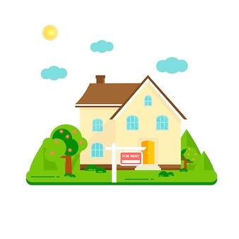 Casa de publicidade com árvores. oferta de compra de casa. locação de imóveis.