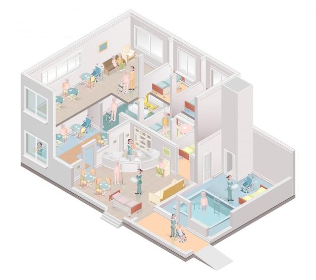 Casa de repouso. instalações de vida assistida