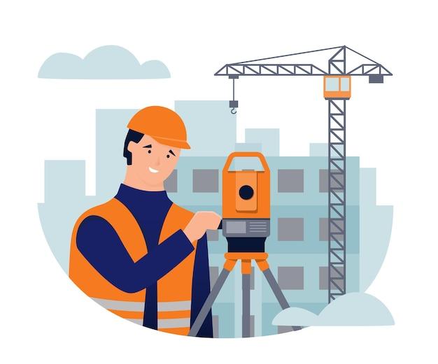 Casa de teodolito agrimensor em construção e guindaste de construção obras geodésicas Vetor Premium