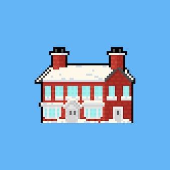 Casa de tijolo vermelho dos desenhos animados da arte pixel com coberto de neve.