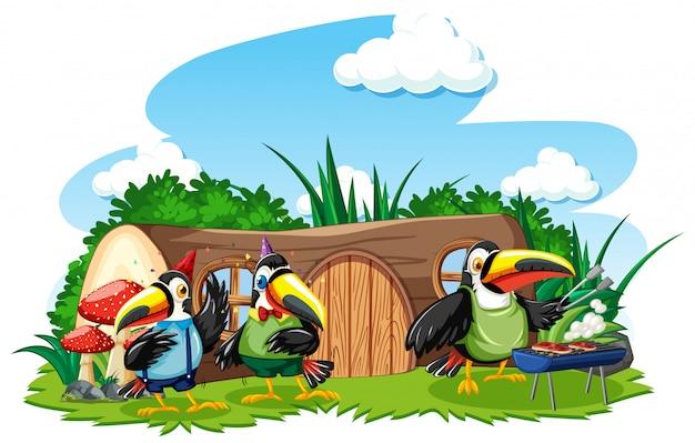 Casa de tocos com três pássaros bonitos no estilo desenho animado