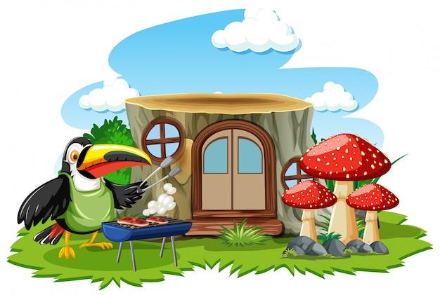 Casa de tronco com estilo de desenho animado pássaro bonito no fundo branco