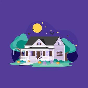 Casa, decoração halloween, à noite