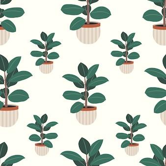 Casa decorativa planta borracha ficus sem costura padrão