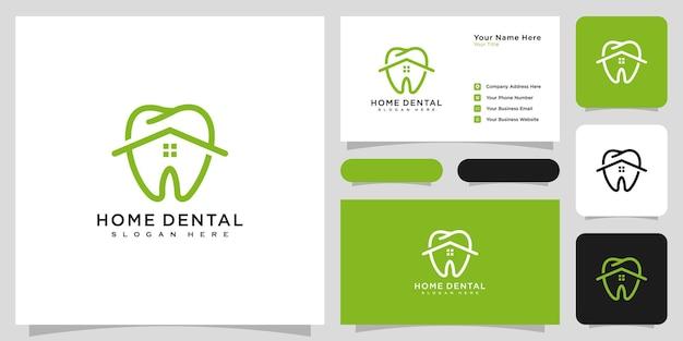 Casa dental logo vector design e cartão de visita