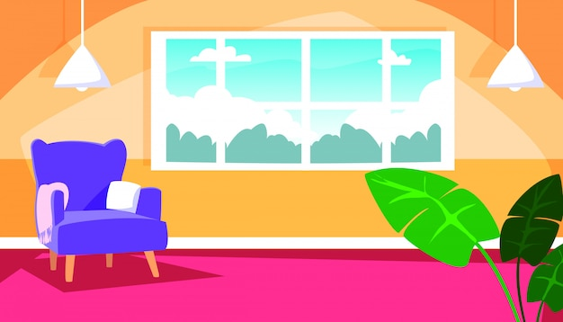 Casa dentro de cena com interiores de sofá e decoração