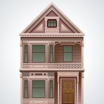 Casa detalhada legal isolada no fundo branco
