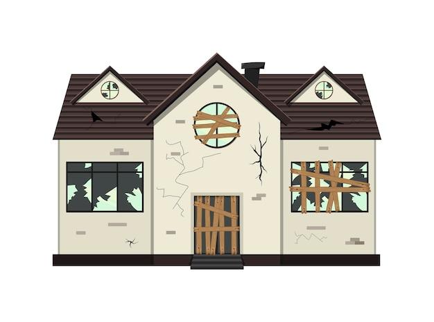 Casa dilapidada de um andar antes da reforma. estilo de desenho animado. ilustração vetorial.