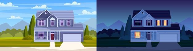 Casa diurna e noturna. rua no bairro de subúrbio com casa residencial. paisagem dos desenhos animados com casa de campo suburbana. bairro da cidade com imóveis. ilustração vetorial em estilo simples