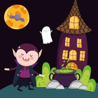 Casa do caldeirão de drácula e fantasma halloween