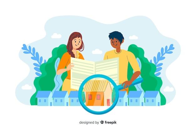 Casa do conceito à procura da página de destino