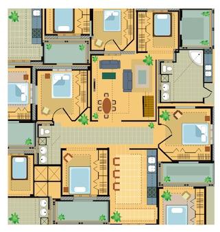Casa do plano de cores