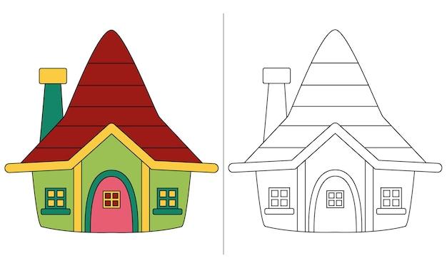 Casa dos anões com ilustração de livro para colorir infantil