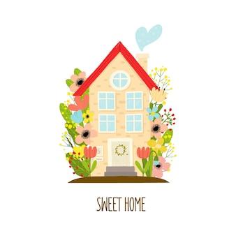 Casa dos desenhos animados em estilo simples, isolada no fundo branco. ficar em casa