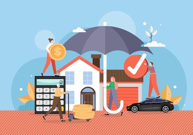 Casa e carro sob o guarda-chuva, sob proteção confiável de apólice de seguro