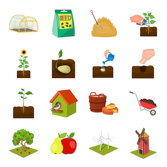 Casa e fazenda cartoon conjunto ícone. horta orgânica. desenhos animados isolados definir ícone casa e fazenda.