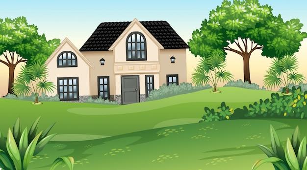 Casa e jardim em ambiente natural