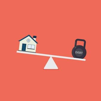 Casa e kettlebell com palavra de dívida em escalas