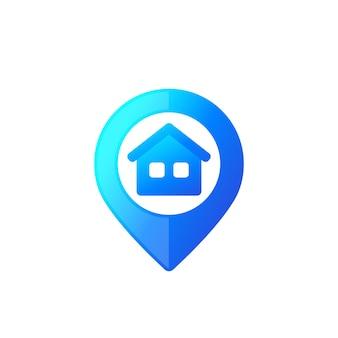 Casa e marca pontual com gradiente azul