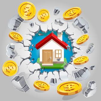 Casa e moedas de um dólar de ouro rompendo a parede de concreto