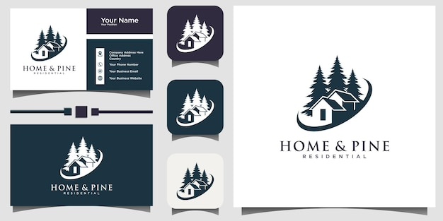 Casa e pinheiros, abeto, ilustração vetorial de design de cedro com fundo de modelo de cartão de visita