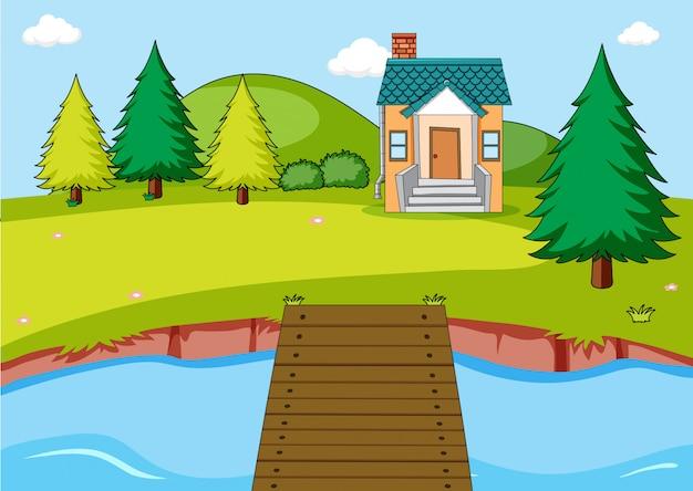 Casa e rio cena ao ar livre