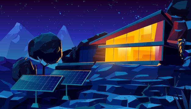 Casa ecológica de arquitetura orgânica com painéis solares