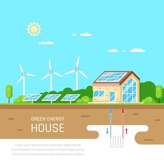 Casa ecologicamente correta. energia verde. energia solar, eólica e geotérmica. estilo simples