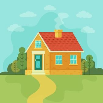 Casa elegante contra o céu e outros elementos do meio ambiente. ilustração do vetor da mansão