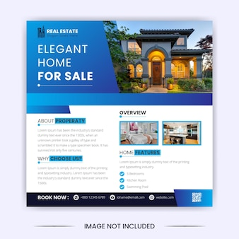 Casa elegante para venda de imóveis, postagem em mídia social e modelo de design de banner do instagram