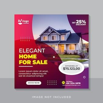 Casa elegante para venda em banner de mídia social ou modelo de folheto quadrado