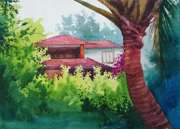 Casa em aquarela na floresta.