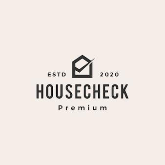 Casa em casa verificar ilustração do ícone do logotipo vintage