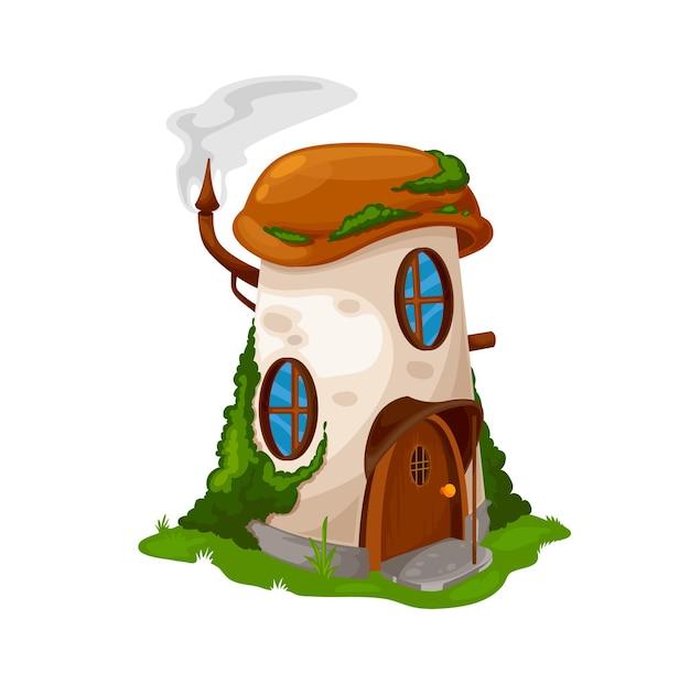 Casa em cogumelo de conto de fadas do gnomo anão, cabana em casa de duende de desenho animado