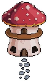 Casa em cogumelo pixel art para jogo de bits em fundo transparente