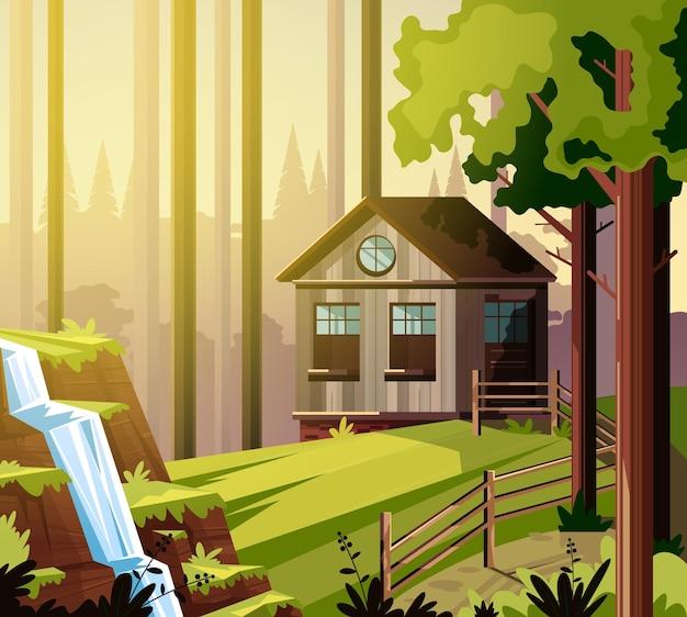 Casa em conceito de paisagem de fazenda de floresta verde