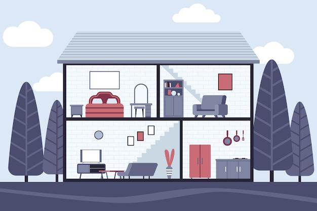 Casa em conceito de seção transversal