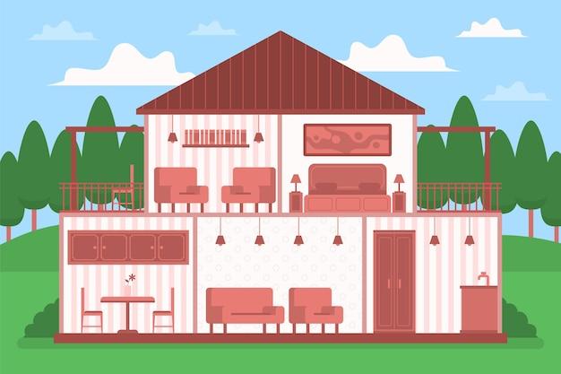 Casa em ilustração de seção transversal