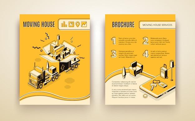 Casa em movimento, empresa de relocação, folheto de publicidade isométrica de serviço de entrega ou folheto de promoção.