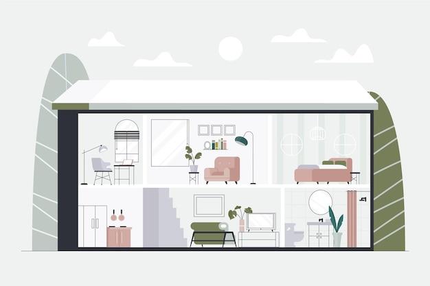 Casa em seção transversal