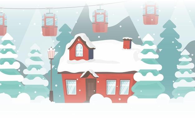 Casa em um bosque nevado. árvores de natal, montanhas, neve, teleférico ou funicular. ilustração vetorial.