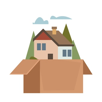 Casa em uma caixa de papelão o conceito de comprar ou vender uma casa com um corretor de imóveis ou mudança