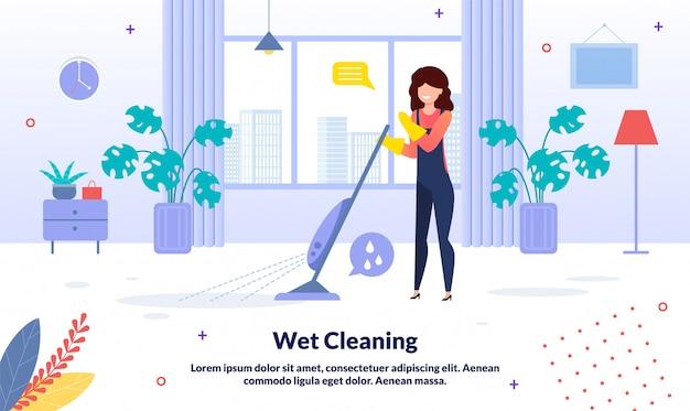 Casa, empresa de limpeza de escritório banner plana