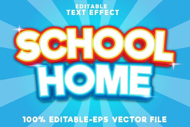 Casa escolar com efeito de texto editável e estilo moderno de volta às aulas