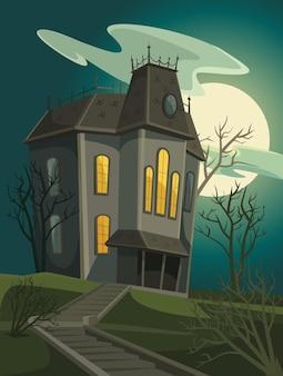Casa escura de bruxa assustadora