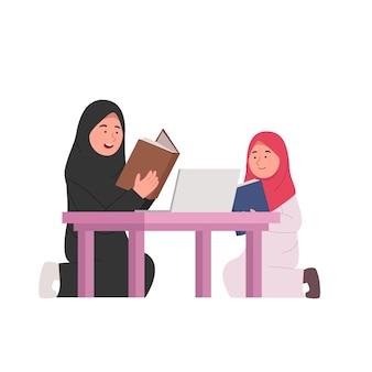Casa estudando mãe árabe ensina filha